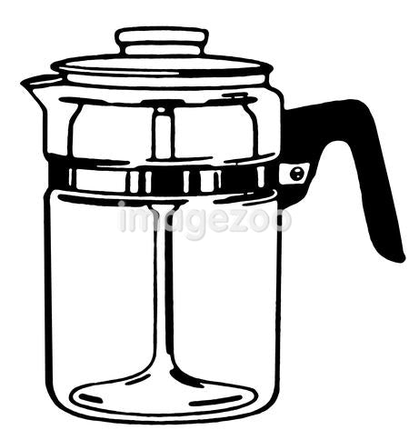 A black and white version of a coffee pot