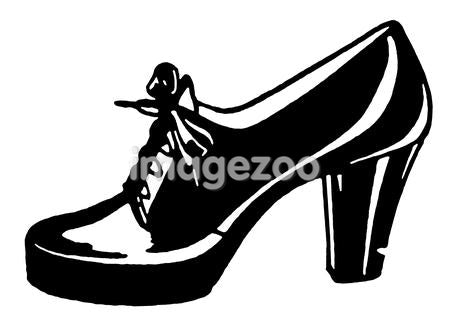 A black and white version of a vintage shoe