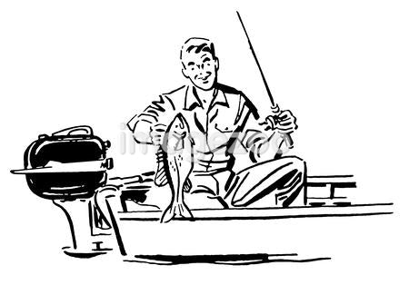 A black and white version of a man on a fishing trip