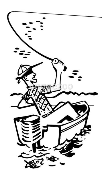 A black and white version of a cartoon style image of a man fishing