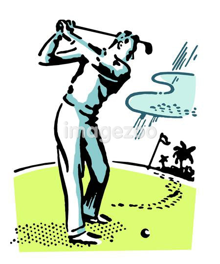 A vintage illustration of a man playing golf