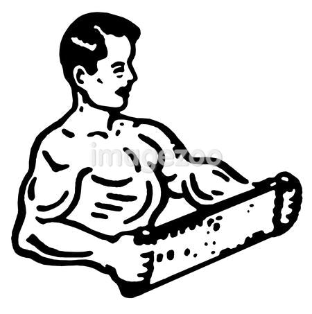 A black and white version of an illustration of a very muscular man