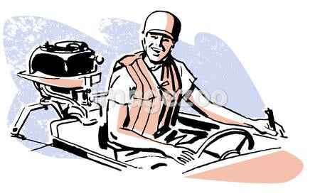 A vintage illustration of a man driving a boat