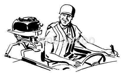 A black and white version of a vintage illustration of a man driving a boat