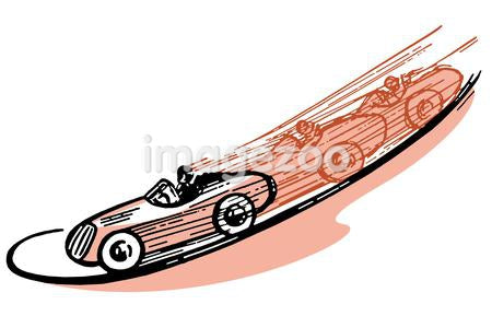 A vintage illustration of a race car