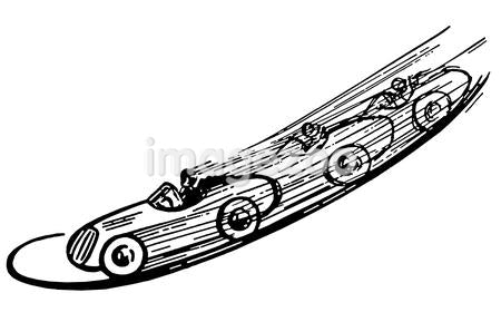 A black and white version of a vintage illustration of a race car