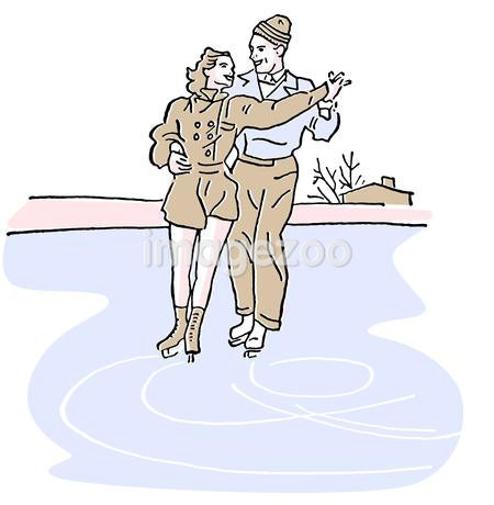 A vintage illustration of two people figure skating