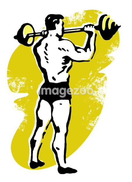 A very muscular man weight lifting
