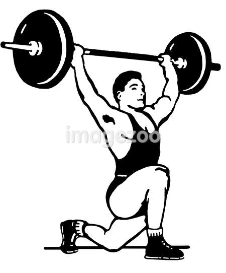 A black and white version of a very muscular man weight lifting