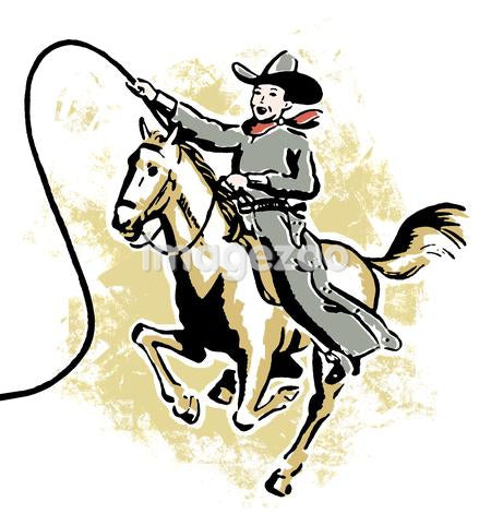 A vintage illustration of a young cowboy