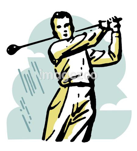 A vintage illustration demonstrating a golf swing