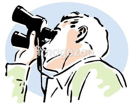 A vintage illustration of a man looking through binoculars