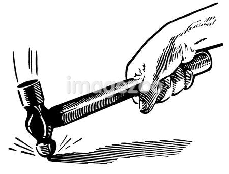 A black and white version of a vintage illustration of a hammer going down