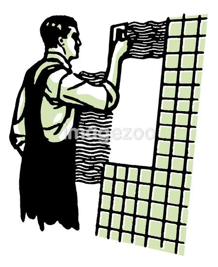 A vintage illustration of a man tiling