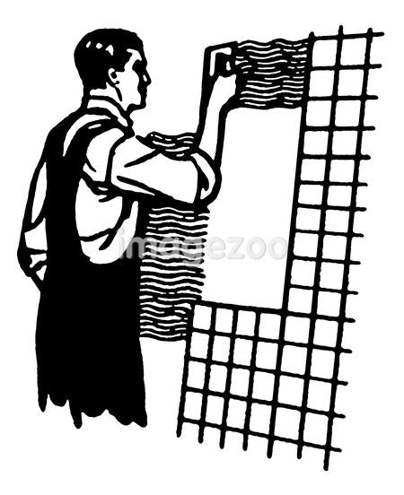 A black and white version of a vintage illustration of a man tiling