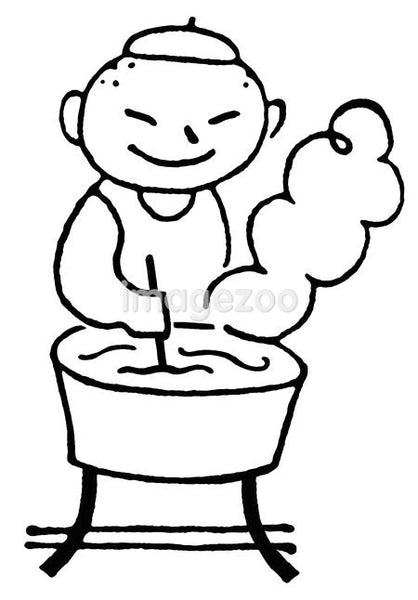 A black and white version of a cartoon style drawing of a man doing laundry by hand