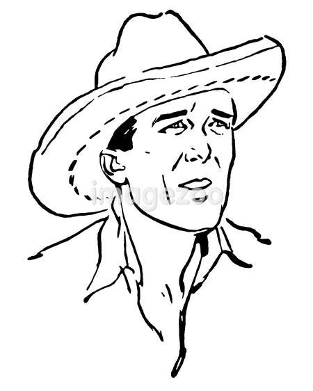 A black and white version of a vintage portrait of a cowboy