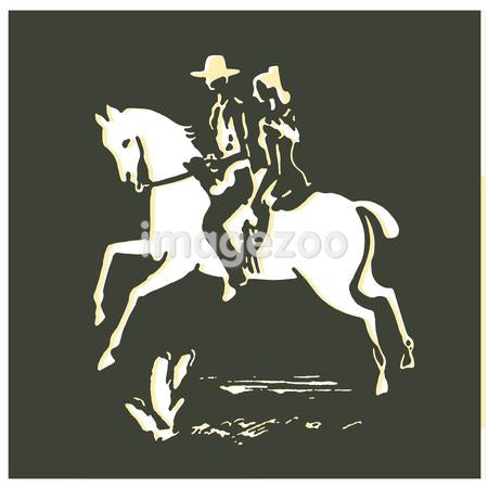 A vintage print of a woman and cowboy on a horse