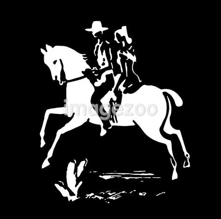 A black and white version of a vintage print of a woman and cowboy on a horse