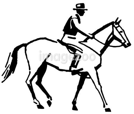A black and white version of a vintage style line drawing of a cowboy