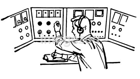 A black and white version of a vintage style illustration of a flight controller