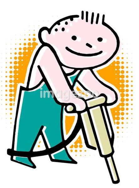 A cartoon style drawing of a construction worker