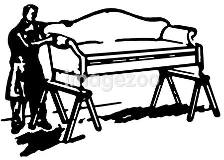 A black and white version of a vintage style image of a man fixing a sofa