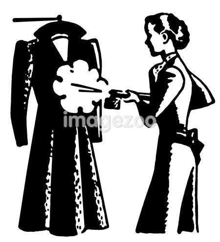 A black and white version of a vintage style image of a woman steaming clothes
