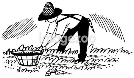 A black and white version of an illustration of a man working in the fields