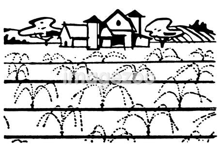A black and white version of an illustration of a farmhouse