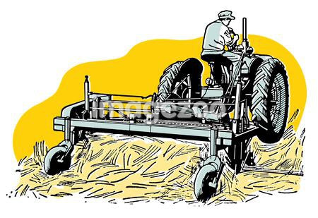 A vintage illustration of a man tending to fields with a tractor