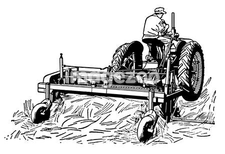 A black and white version of a vintage illustration of a man tending to fields with a tractor