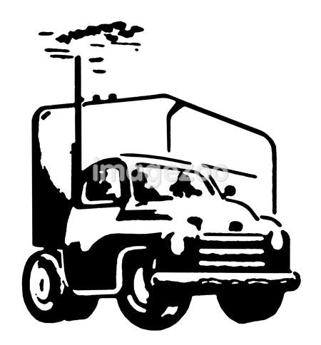 A black and white version of a vintage illustration of a truck