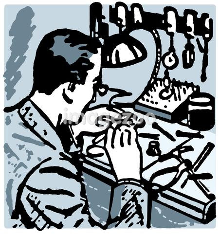 A vintage illustration of a watch maker