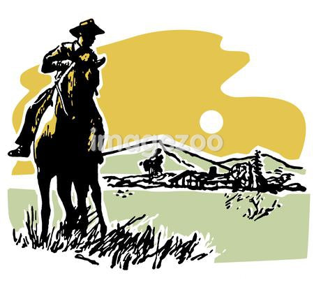 A vintage illustration of a cowboy on the land