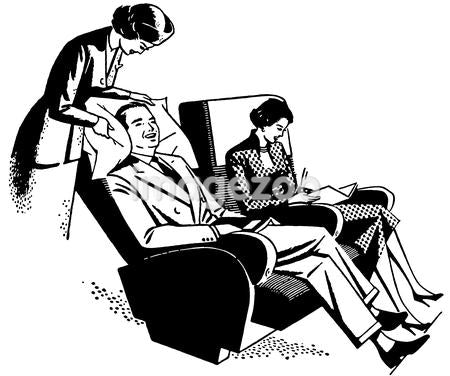 A black and white version of a vintage print of a flight attendant tending to a customer