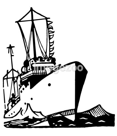 A black and white version of a vintage illustration of a ship