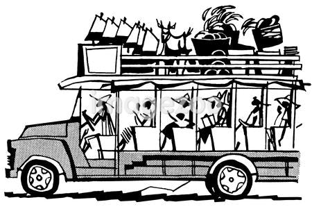 A black and white version of a vintage illustration of a bus filled to the brim