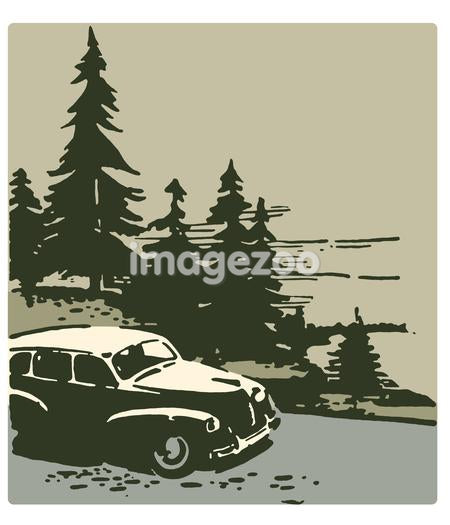A vintage illustration of a classic car