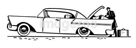 A black and white version of a vintage illustration of a classic car