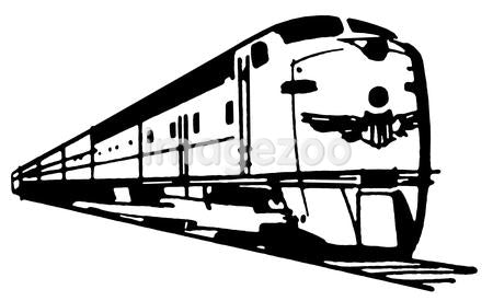 A black and white version of a vintage illustration of a speeding train