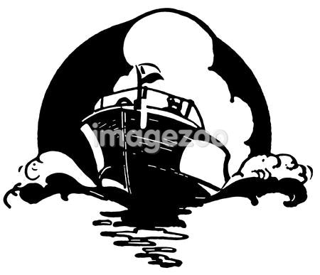 A black and white version of a vintage illustration of a boat