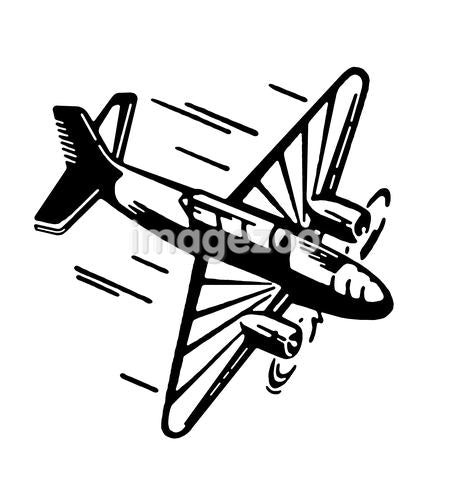 A black and white version of a vintage illustration of an airplane