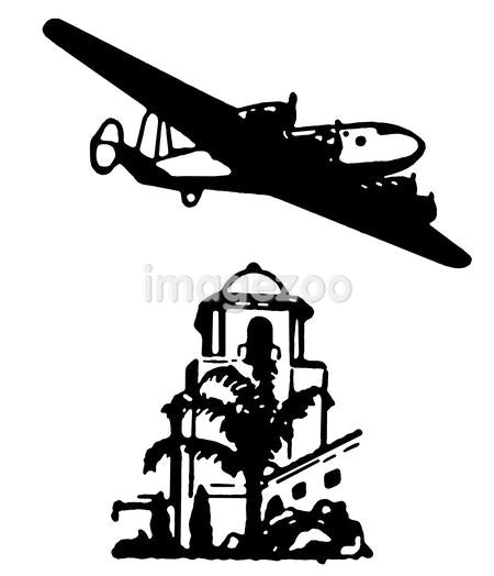 A black and white version of a vintage illustration of an airplane flying over buildings