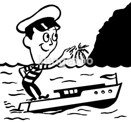A black and white version of a cartoon style vintage illustration of a small man in a boat