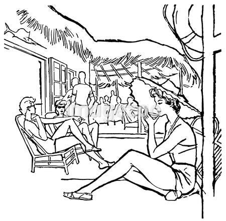 A black and white version of a vintage illustration of people relaxing on vacation