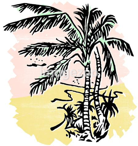 An illustration of Palm covered beaches