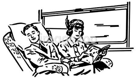 A black and white version of a vintage illustration of people on a train