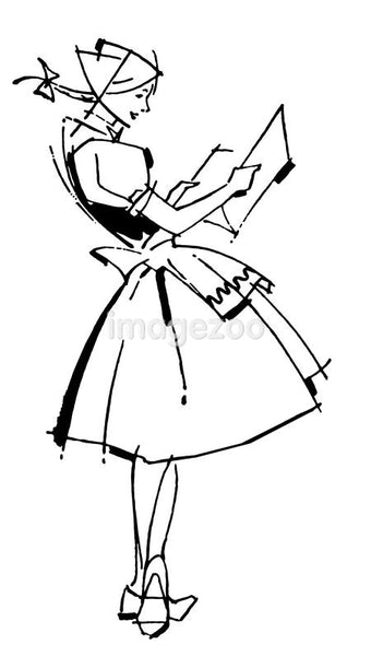 A black and white version of a vintage illustration of a German waitress