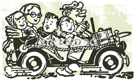 A cartoon style image of a car packed full of family and bags set for vacation